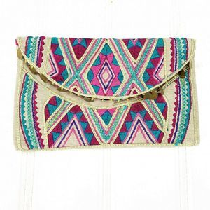 Target Geometric Brown Embroidered Clutch Pink